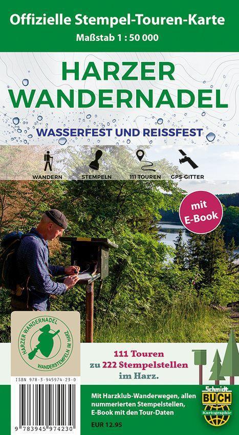 Cover: 9783945974230   Harzer Wandernadel 1 : 50 000, mit E-Book   (Land-)Karte   Deutsch